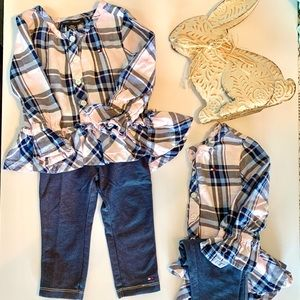 (2)Tommy Hilfiger pink plaid shirts & jeans